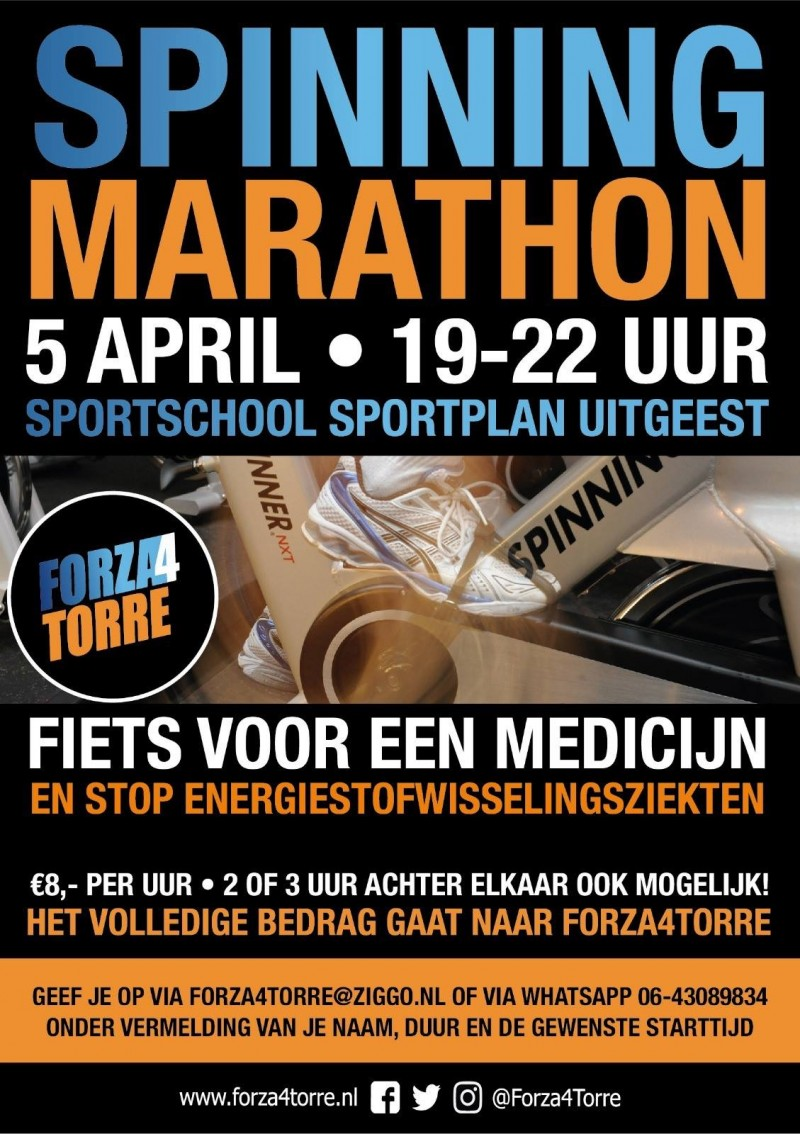 Spinningmarathon Forza4Torre Sportplan Uitgeest 5april2019 Energy4All