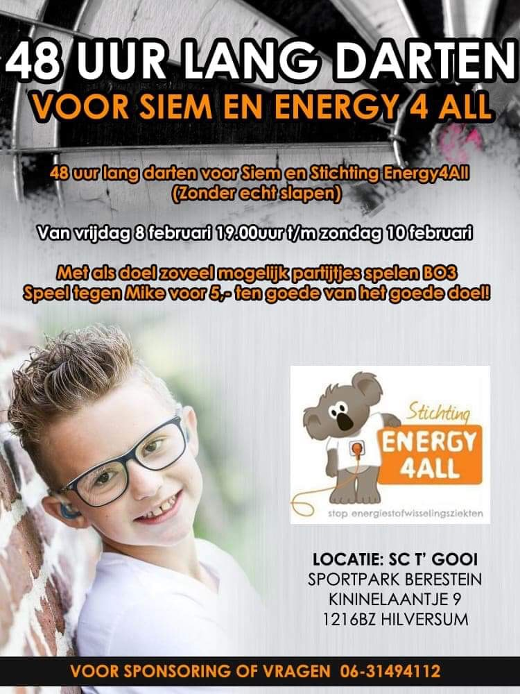 Dart marathon voor Siem 2018 Energy4All